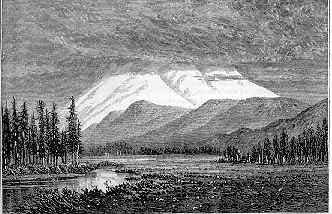 Image of a woodcutting with a view of Mt. Shasta shrouded in clouds, from John Muir
